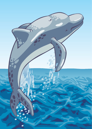 The image of a dolphin on a background of the sea. Illustration