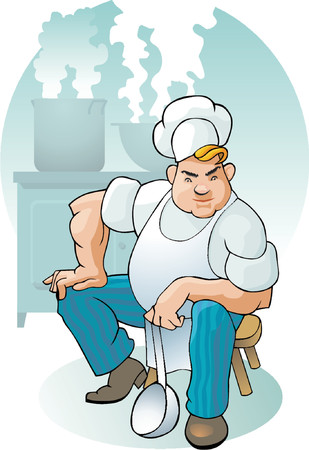 The cook on the workplace cooks food. Illustration