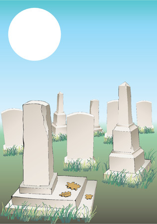 Cemetery. The image of tombs and gravestones. Illustration