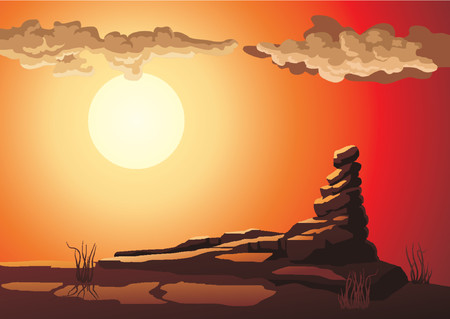 Stone hill in beams of the evening sky with clouds. Illustration