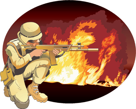 The soldier on a background of storming fire.