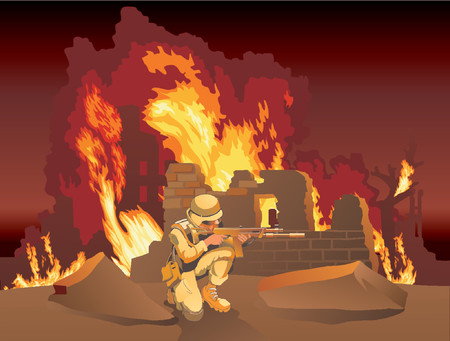 The American soldier is at war in burning Russian villages.