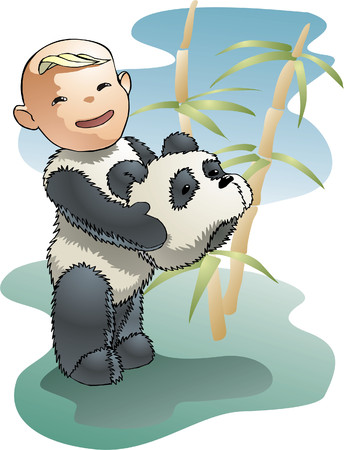 boy in a fancy dress of the panda