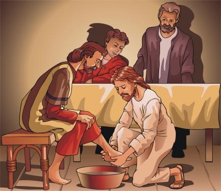 Jesús lava las piernas para el alumno
