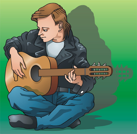 Young man plays on a guitar. Vector