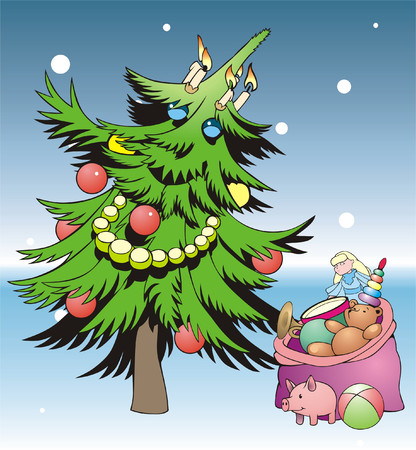 Green fur-tree decorated by New Years toys Vector