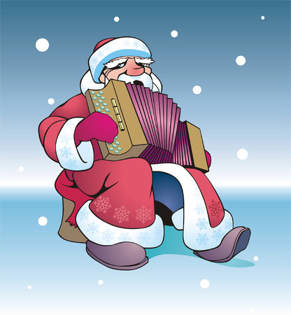 Russian Santa plays on an accordion Stock Vector - 2248592