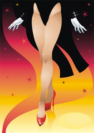 The woman in white gloves dances on a podium. Illustration