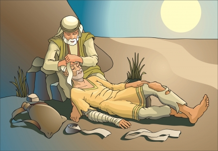 The kind samaritan ties up wounded. Religious subjects.