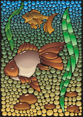 joke glasses: Imitation of a mosaic panel from glass with fishes. Illustration
