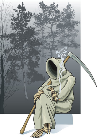 The image of a skeleton with a cigarette on a background of a picture with a wood.