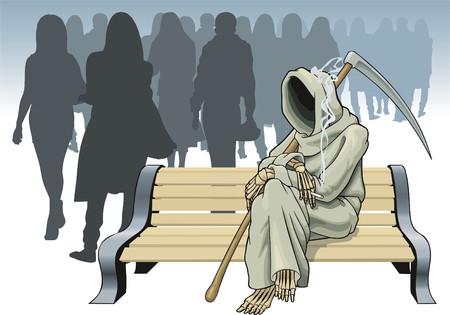 phalanx: L'immagine simbolica della morte prima di una scelta della prossima vittima. Vettoriali