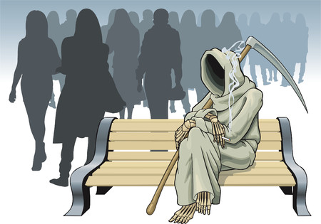 The symbolical image of death before a choice of the next victim. Illustration
