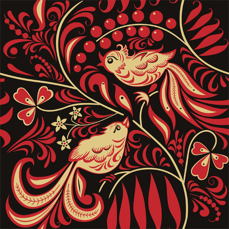 russian: Seamless pattern in the Russian traditional style.