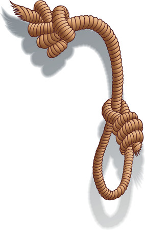 rope vector: The image of a cord with the gallows and a symbol of denying