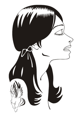 The stylised portrait of the girl with a tattoo on a shoulder. Vector