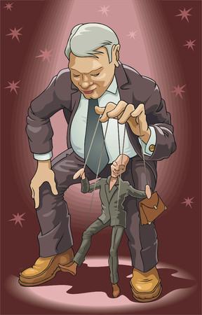 marioneta: Titiritero. El hombre opera un t�tere. Vectores
