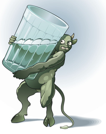 Green devil with glass - a symbol of the alcoholism (delirium tremens).