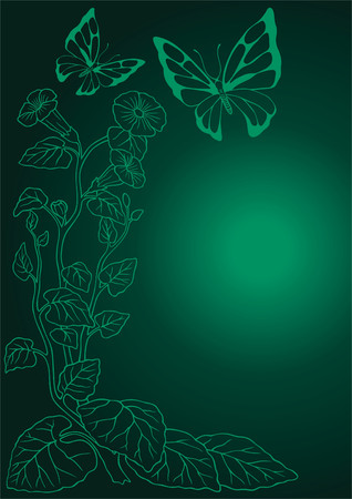 frond: Twisted flower with the butterfly. Illustration