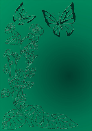 pedicle: Twisted flower with the butterfly. Illustration