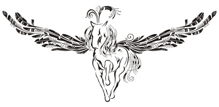 Winged horse in style of an ornament for a tattoo. Vector