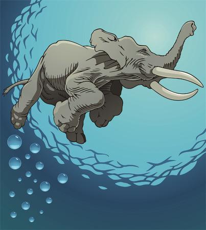 skin diving: Floating elephant in water Illustration
