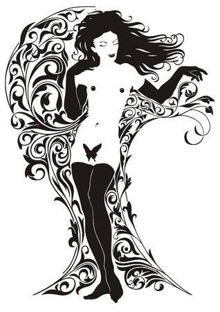 tattoo girl: Chica sobre los antecedentes de los vegetales patr�n.