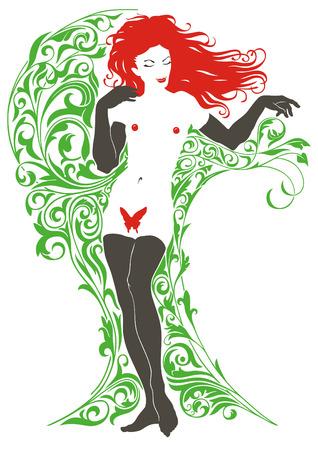 Girl on background of the vegetable pattern. Illustration