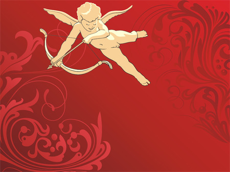 Flying cupid on a red background with a vegetative pattern. Vector