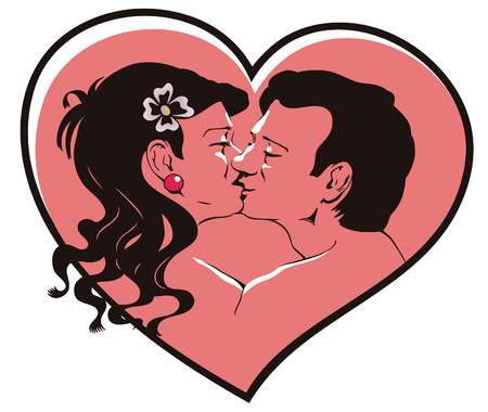 Kissing young men against heart. Day of Valentine. Vector