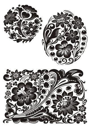 Monochrome variants of Russian traditional patterns Illustration