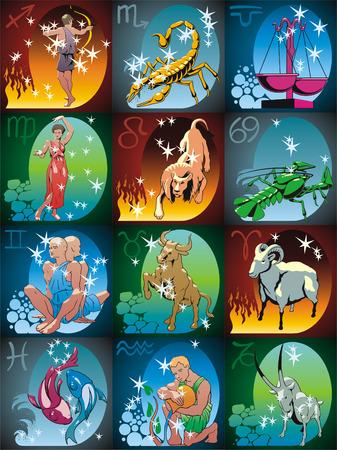 constelaciones: Signos zodiacales y constelaciones en color Vectores