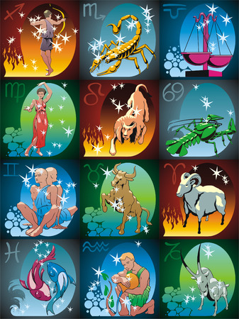 Zodiacal signs and constellations in colour Vector