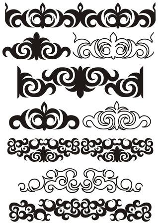 kazakhstan: Monochrome Seamless pattern in traditional stiletto Illustration