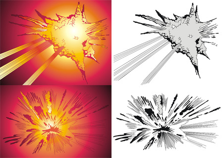 Vector variants of the blast in style comics.