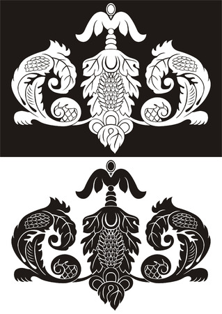 Two monochrome vector variants of the pattern in old style.