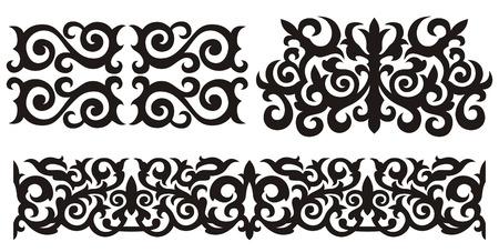 Traditional Kazakh pattern. A design element.