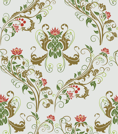 curlicue: Seamless vegetative pattern for use a design element. Illustration