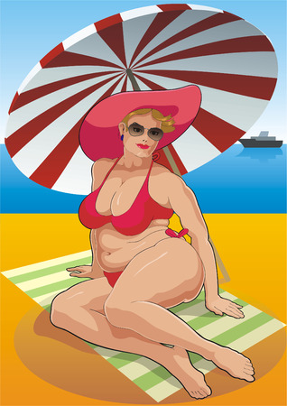 pinup: The woman on a beach under a solar umbrella.