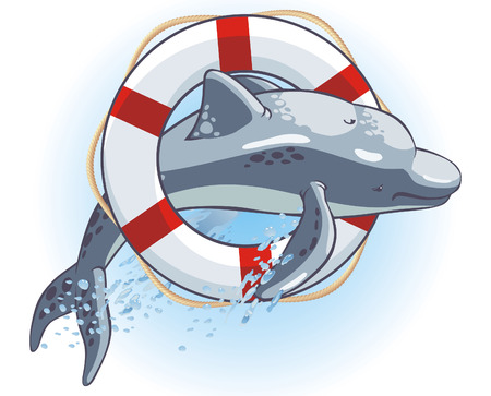 rescuing: Vector emblem with a dolphin and a life buoy. Illustration