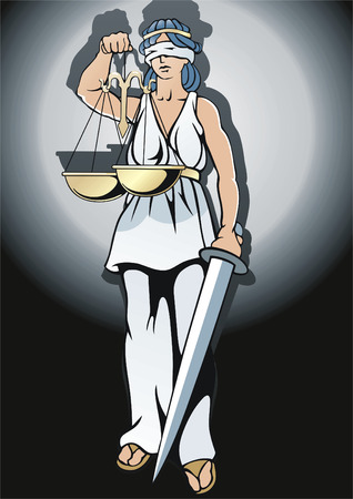 legal system: Blinding goddess Femida with sword and weight.
