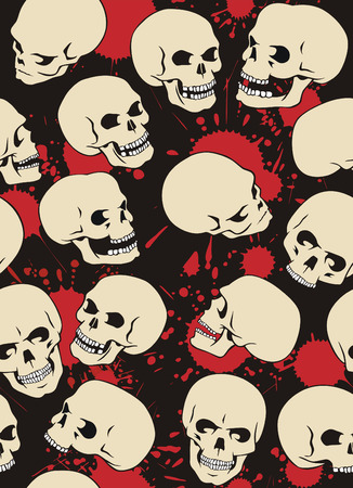 Seamless pattern with skulls and blood drops. Illustration