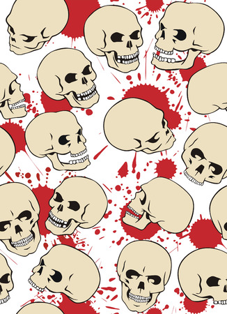 Seamless pattern with skulls and blood drops. Stock Vector - 5187755