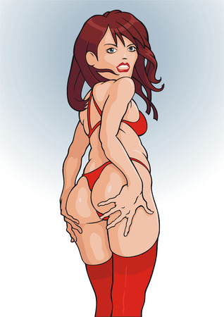 Cut girl in red stockings. Separate object