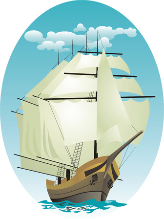 Sea landscape with a four-mast sailing vessel Stock Vector - 5547851