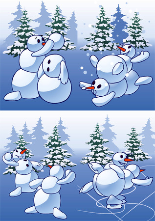Cheerful games of snowballs in winter wood. Celebratory cards. Vector