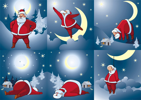 Set of comic pictures about Santa Klausa. Celebratory cards. Vector