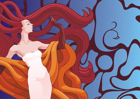 hairdress: The woman with magnificent hairdress on decorative background Illustration