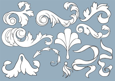 The complete set of various cartouches for use in design.