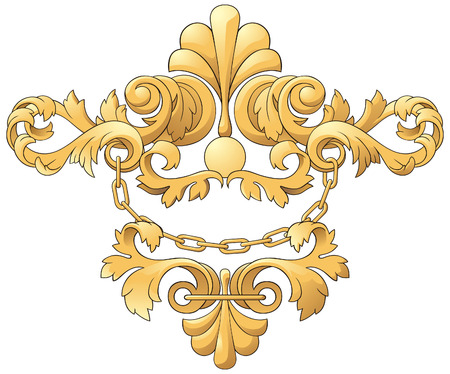 Gold heraldic cartouches for an decorate of projects. Design element. Stock Vector - 6229007